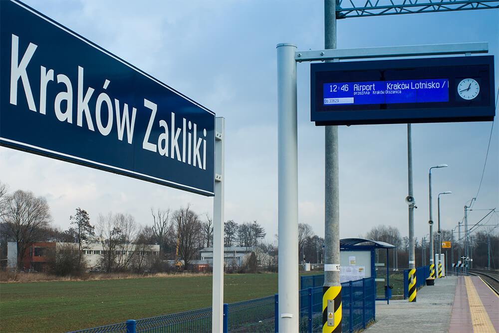 stacja, przystanek, kraków zakliki, odjazd pociągu