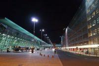 lotnisko, Kraków-Balice, nic, światła, miasto
